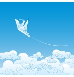 Paper origami crane against the blue sky vector image