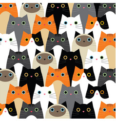 Pattern with cute cats idea vector