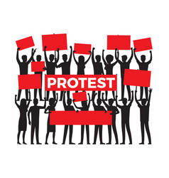 Protest by group of protester silhouette on white vector