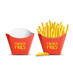 realistic french fries red paper package vector image vector image