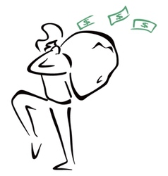 Robber with bag vector image vector image