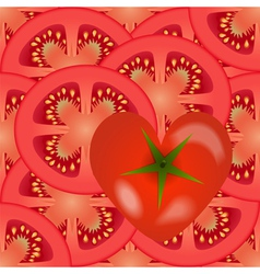 Sliced tomato vegetables with a tomato heart vector