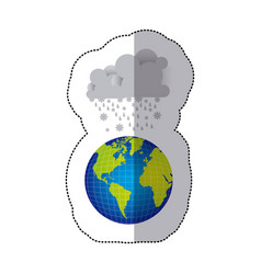 Sticker colorful earth world cloud with cumulus of vector