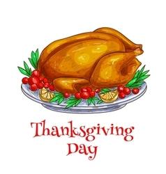Thanksgiving dinner roasted turkey element vector