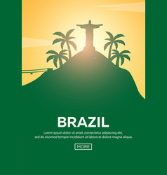 travel poster to brazil landmarks silhouettes vector image vector image