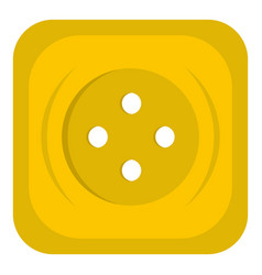 Yellow square sewing button icon isolated vector