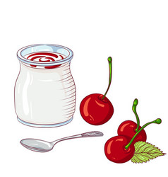 Yogurt with cherry on white background vector
