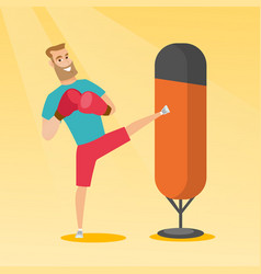 Young caucasian man exercising with punching bag vector