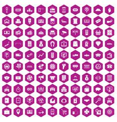 100 coin icons hexagon violet vector