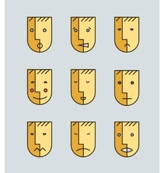 Set of human moods avatars faces vector