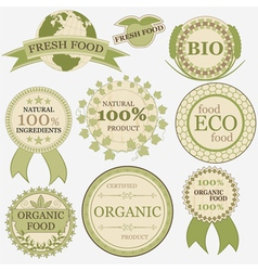 Set of eco bio natural labels retro vintage style vector