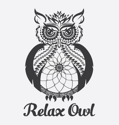 owl anti stress coloring vector image