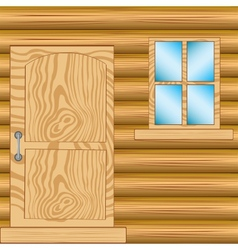 Window and door in house from tree vector