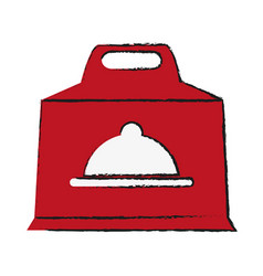 Box with platter symbol food delivery icon image vector