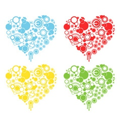 4-color round heart- heart with set of circles vector
