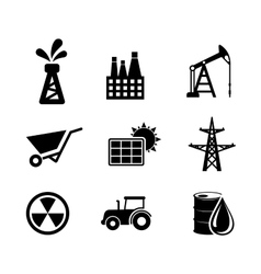 Set of black and white industrial icons vector