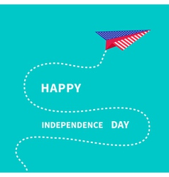Paper plane with dash line happy independence day vector