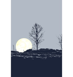Tree and moon vector