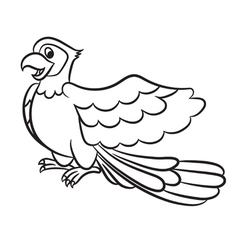 Cartoon of cute parrot outlined vector