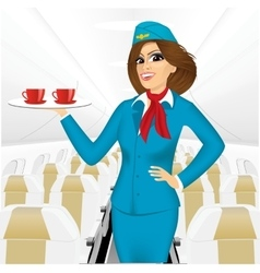 Stewardess holding a tray with two cup of tea vector