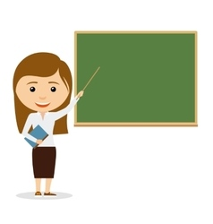 Female teacher on lesson at the chalkboard vector