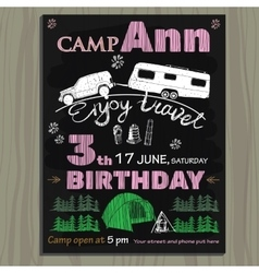 chalk board invitation for birthday in the camp vector image