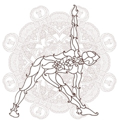 Card with pose ornament yoga vector