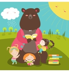 Cute bear reading book for girls vector