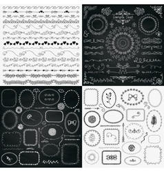 Mix of black and chalk drawing rustic design vector