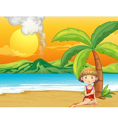 A girl holding a book at the seashore vector image vector image