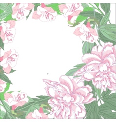 Background with two pink peonies and pink flowers vector