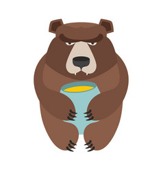 Bear and honey barrel cute wild animal and food vector