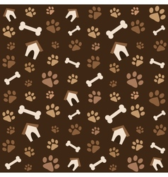 brown pattern with footprints and bones vector image