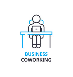 business coworking concept outline icon linear vector image