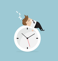 Businessman sleeping on clock vector
