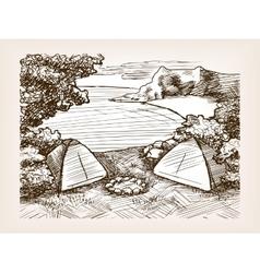 Camping landscape sketch vector
