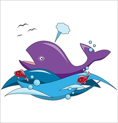 Cartoon whale and fish swim in the ocean vector image