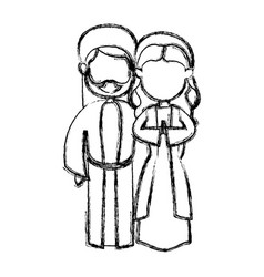 christmas virgin mary and saint joseph sketch vector image vector image