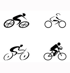 cyclist icons vector image