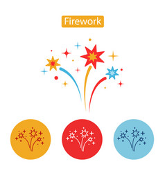 firework flat icon isolated on white background vector image vector image