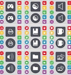 Gamepad yin-yang sound printer dictionary cup vector
