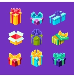 Gift boxes with and without a present inside vector