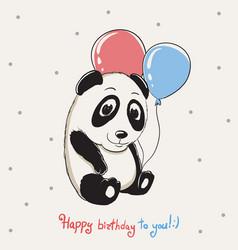 happy cute panda keeps balloons vector image