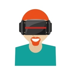 Hipter man virtual reality glasses technology new vector