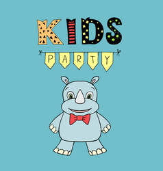 kids party lettering party with baby rhino vector image vector image