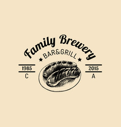kraft beer logo old brewery icon hand sketched vector image vector image