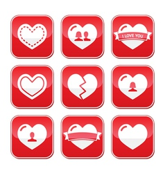 Love hearts buttons set for Valentines Day vector image vector image
