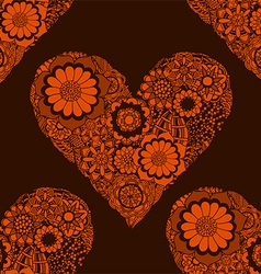 Orange Love Heart Patterned Background vector image vector image