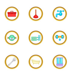 Plumbing things icons set cartoon style vector