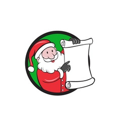 Santa claus paper scroll pointing circle cartoon vector